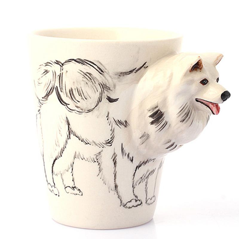 3d纯手绘立体陶瓷动物杯马克杯 萨摩耶