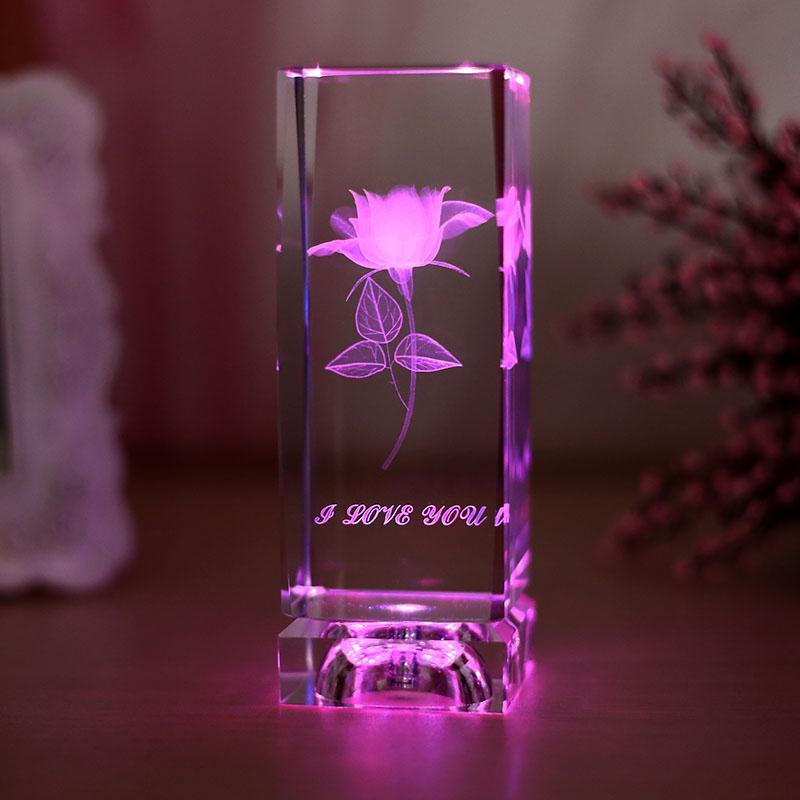 上善若水 生日礼物 送女友老婆闺蜜创意礼物 3d内雕梦幻水晶玫瑰花内