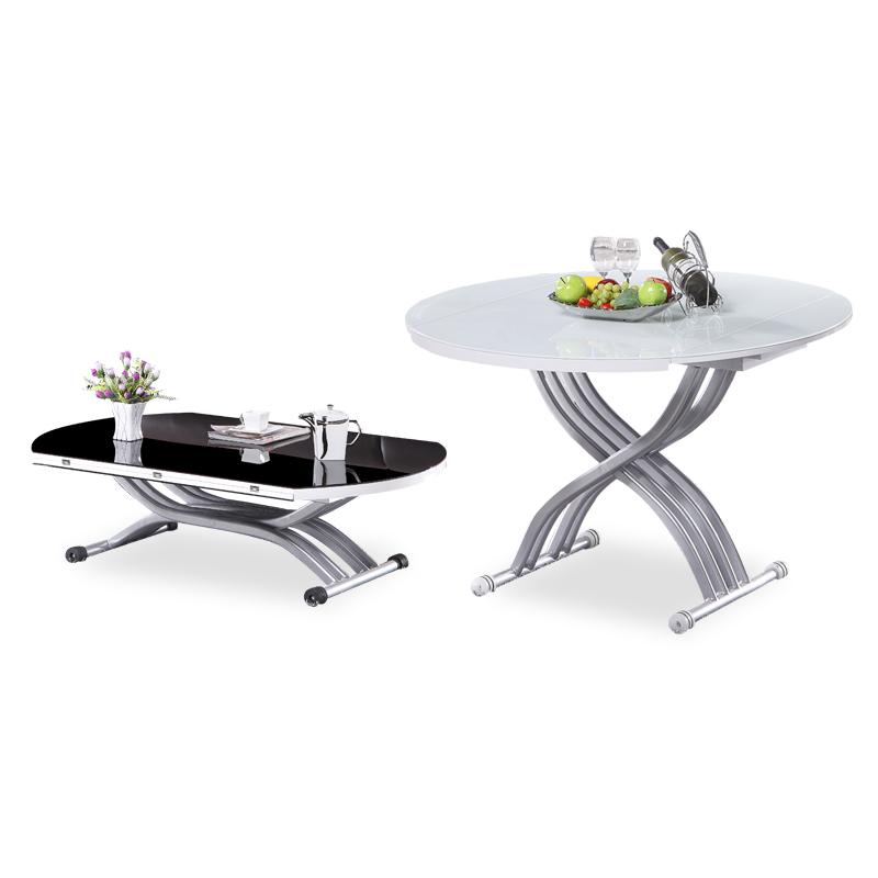 芝安妮 小户型折叠伸缩茶几餐桌两用 圆形钢化玻璃升降餐台 创意茶几