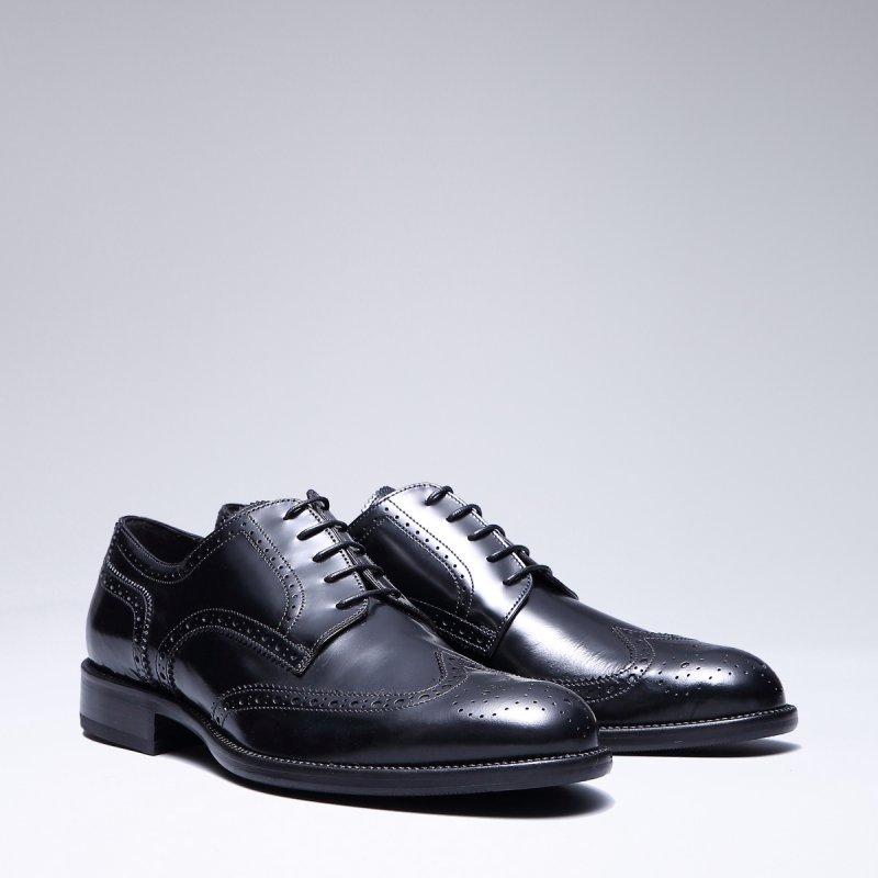 意大利进口 轻奢品牌 bycreations 商务正装男士手工布洛克皮鞋 黑色图片