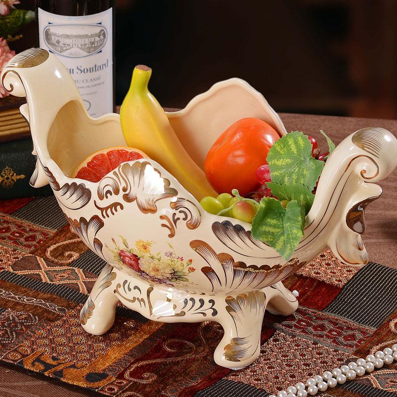 欧式高档陶瓷果盘 家居客厅茶几装饰品水果盘乔迁图片