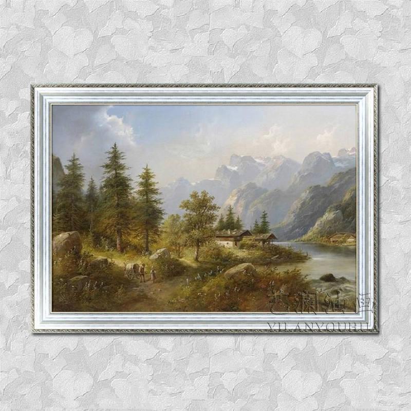 艺澜高档纯手绘油画 山区山水风景有房子小动物 回忆老家景色fj23 纯