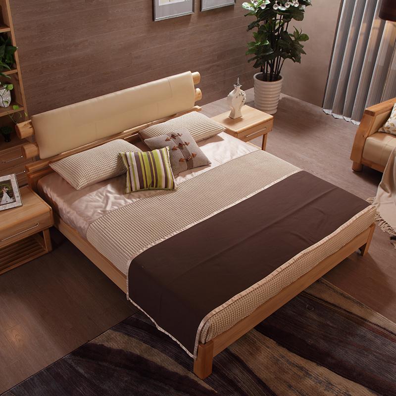 a家家具现代实木床家具卧房简约双人床时尚婚床1.