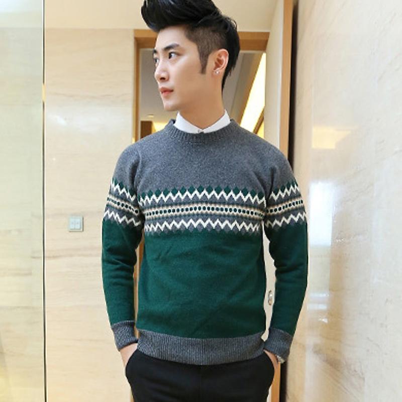 男式百搭休闲气质民族菱形编织男士圆领毛衣 针织衫 男装 绿色 xxl