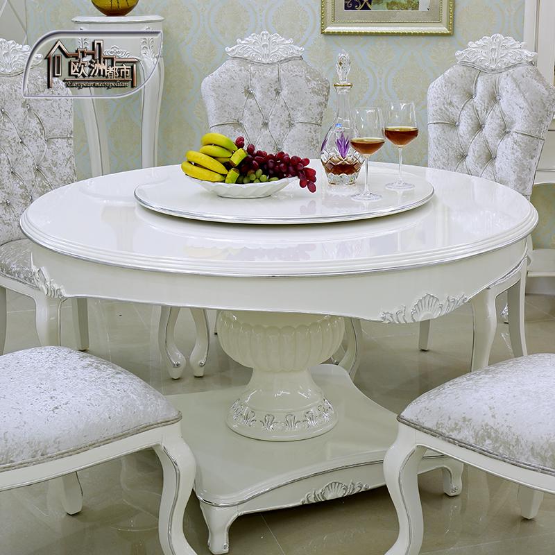 欧洲都市 欧式餐厅家具套装 实木圆餐桌法式田园白色吃饭桌6人8人桌子图片