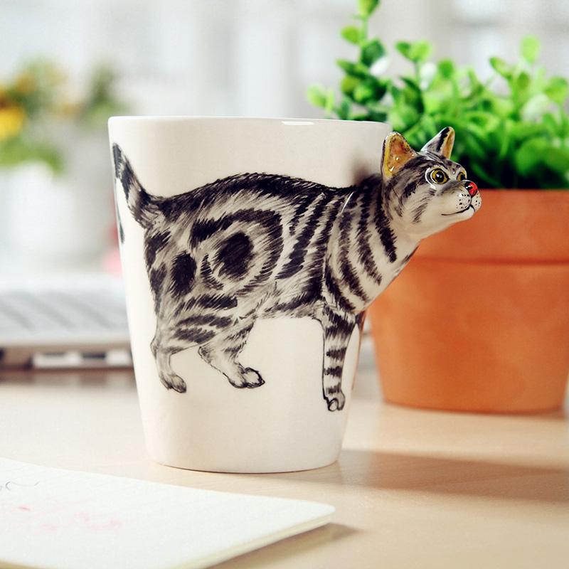 琉缘3d立体陶瓷杯纯手绘动物杯个性彩绘水杯卡通杯子咖啡杯马克杯艺术