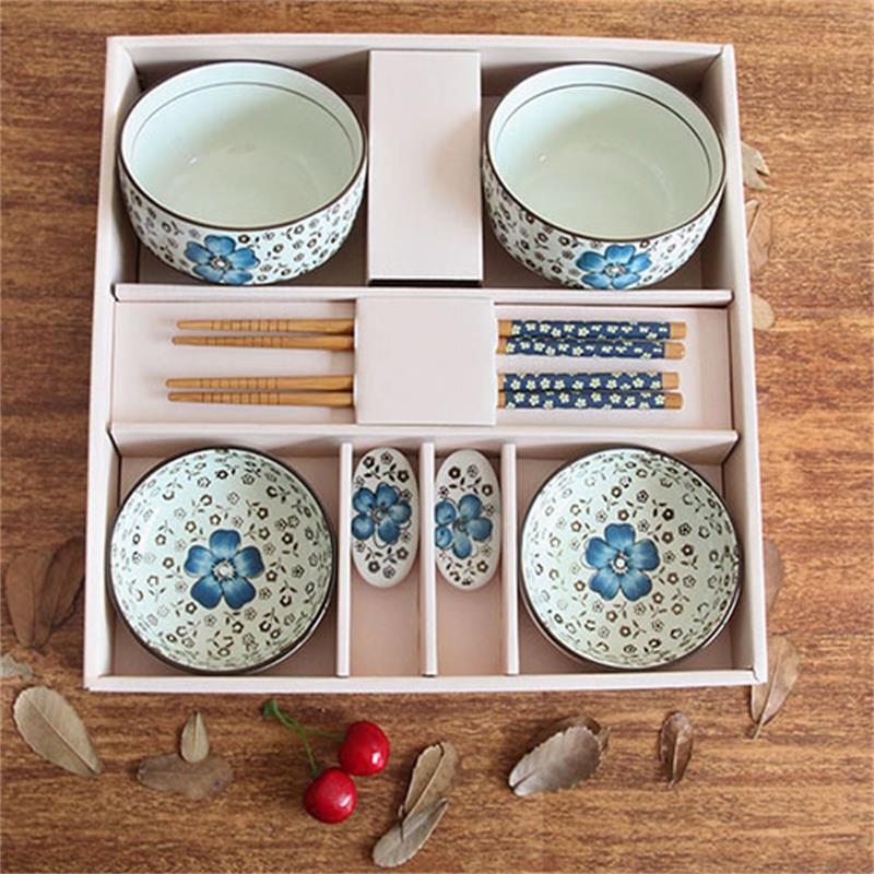 韩式陶瓷餐具商务碗碟筷8件套礼盒包装骨瓷情侣 高级礼品盒 圆碗富贵图片