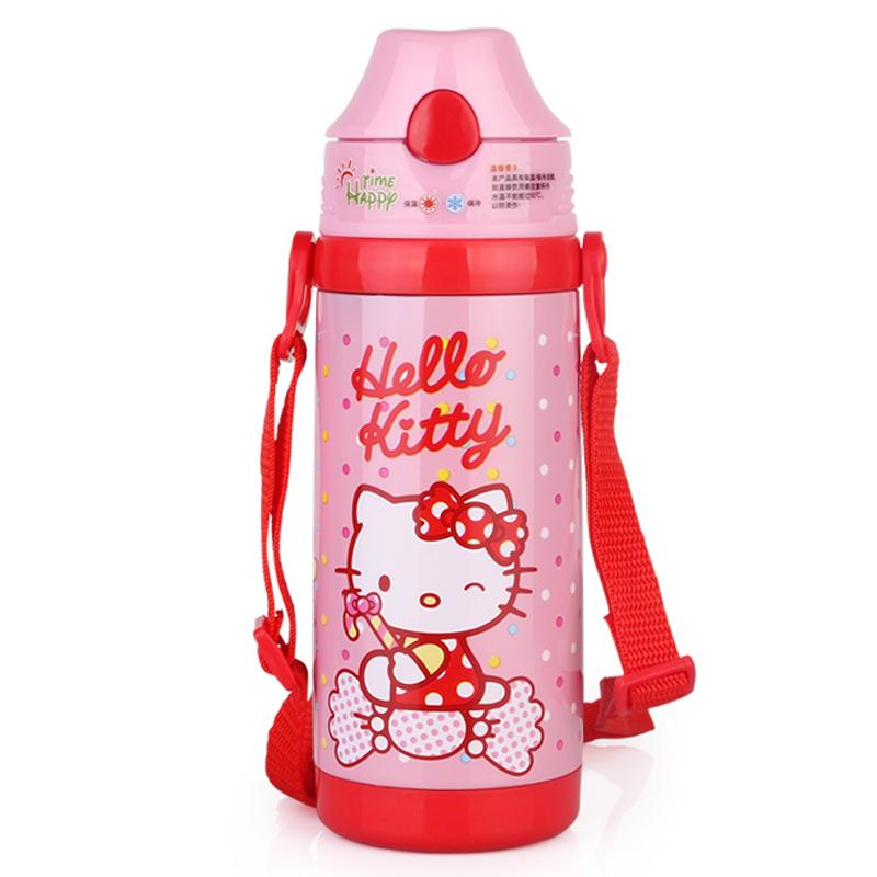hello kitty不锈钢儿童保温杯 可爱女士水杯子暖瓶学生带吸管水壶 kt