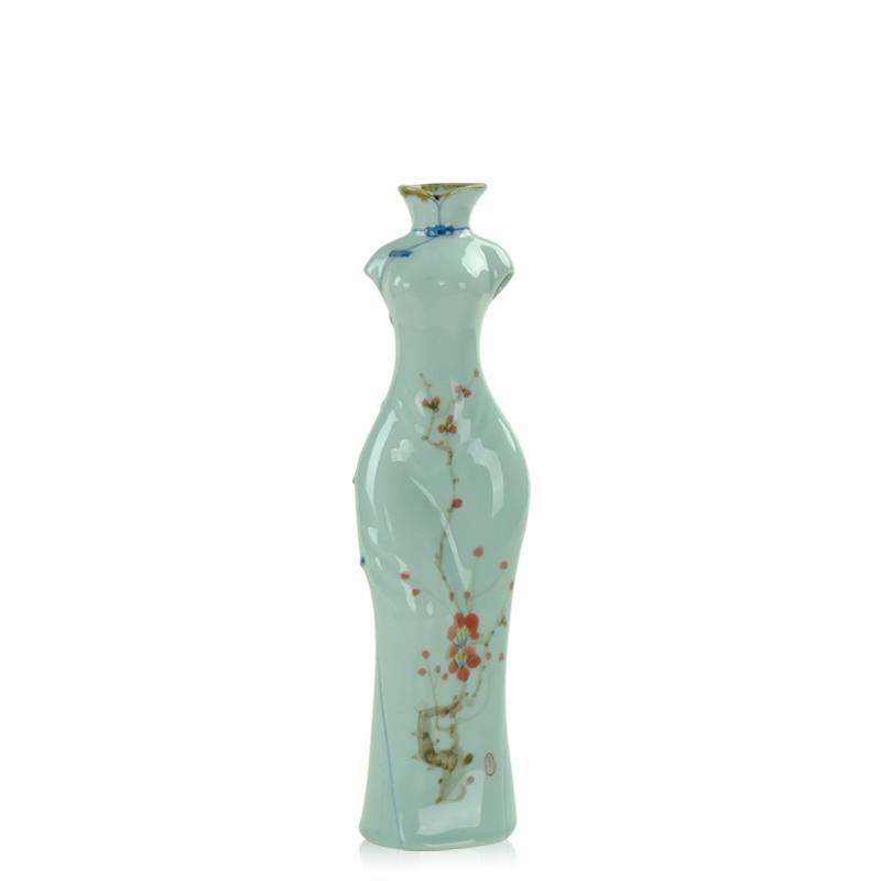 唐丰 高档青瓷手绘陶瓷插花器花瓶花插 客厅摆件饰品时尚1976 蓝色
