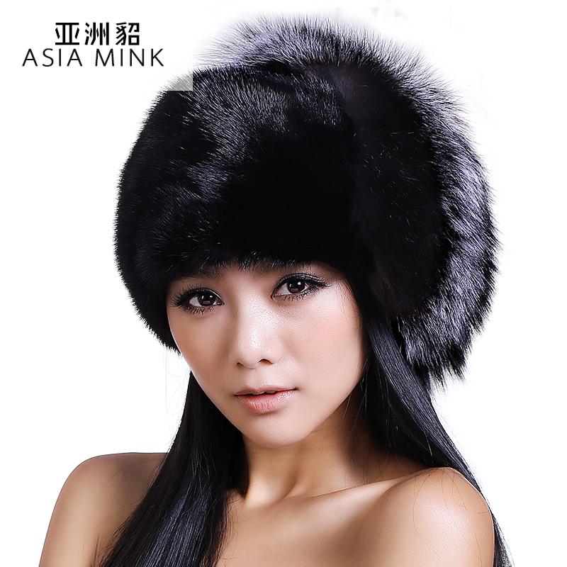 亚洲貂 2014新款秋冬帽子女 气质女骑士帽 潮 整皮水貂奢华皮草帽子