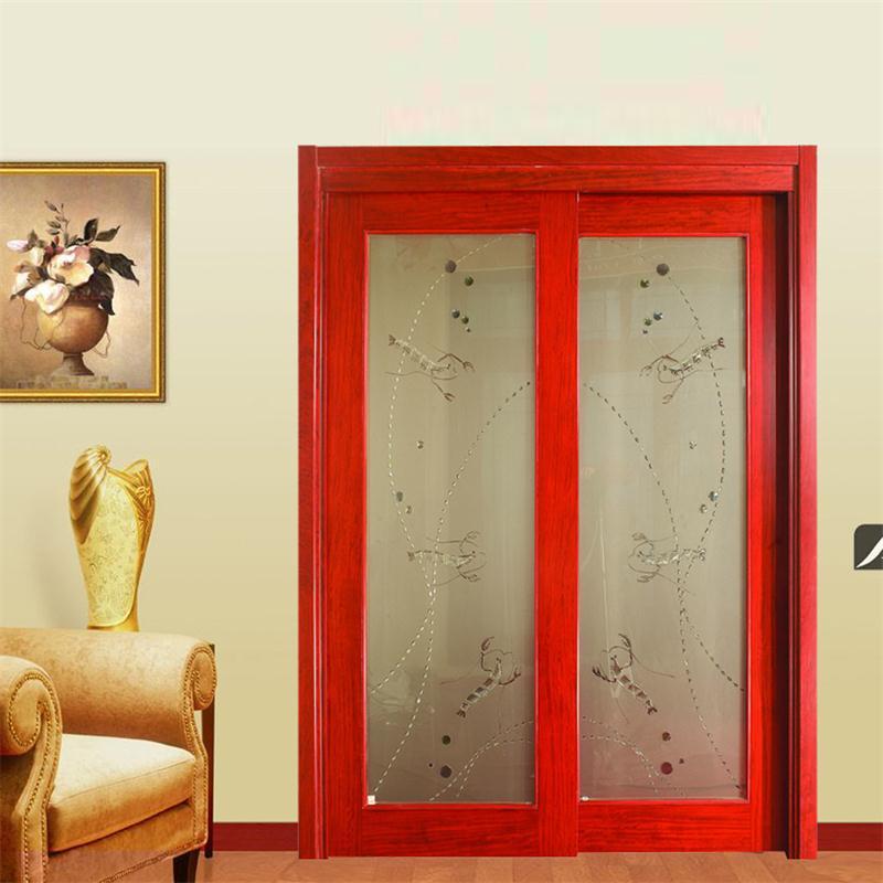 乐淘淘推拉门隔断门移门对开门木门厂家直销艺术玻璃梭门tl003