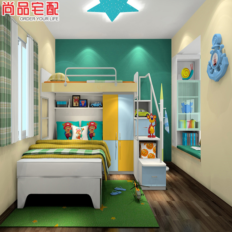 尚品宅配 床定制 上下床 衣柜 飘窗 免费家具设计 儿童房家具 6件