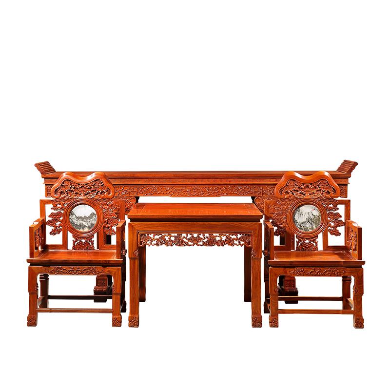 北京 豪美红木 红木家具中式 灵芝中堂四件套 刺猬紫檀 (非洲花梨木)图片