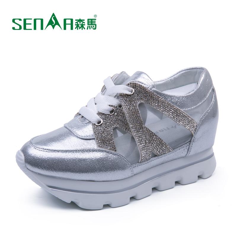 senma森马休闲鞋女2015春季新款韩版水钻装饰透气女鞋图片