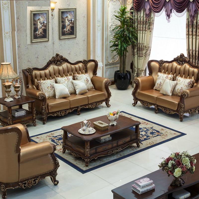 醉人香家具 欧式真皮沙发 大户型别墅法式客厅组合家具 美式实木真皮图片