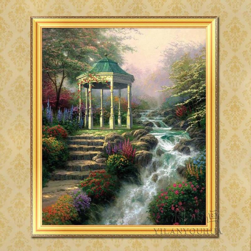托马斯花园景竖式风景油画 欧式简约家庭装饰品 玄关有框挂画hj60 纯