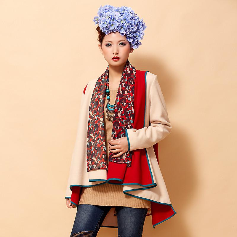 诺可图 原创设计2014秋冬装民族风围巾领拼接中长款毛