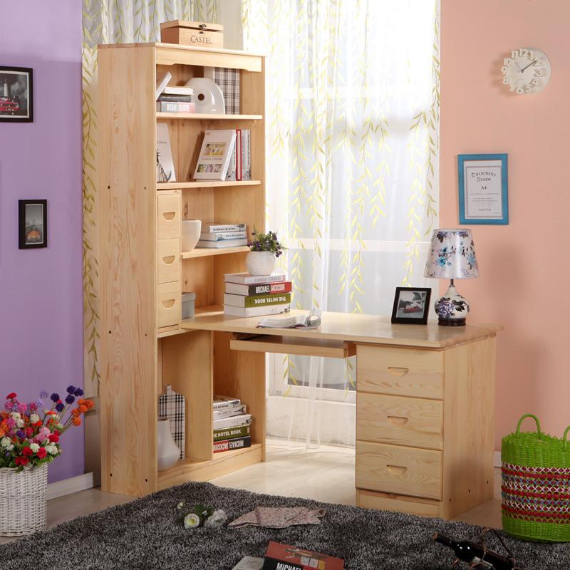 松香门第 实木书桌办公桌 儿童写字台书桌柜简约写字学习桌 松木书柜