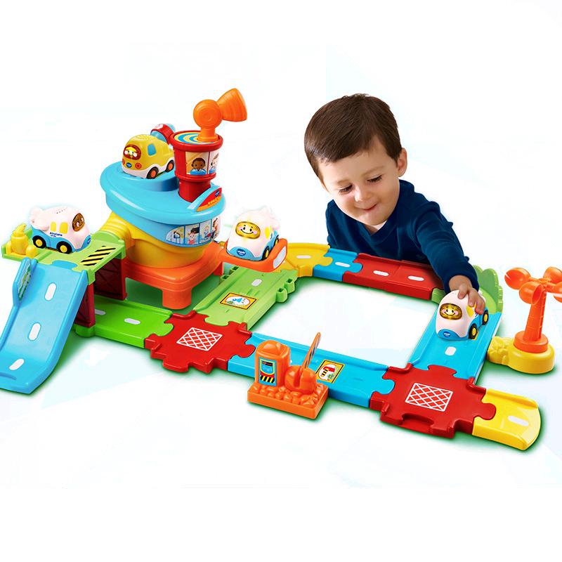 建筑工地轨道车玩具 益智早教玩具儿童轨道玩具 神奇轨道 飞机场