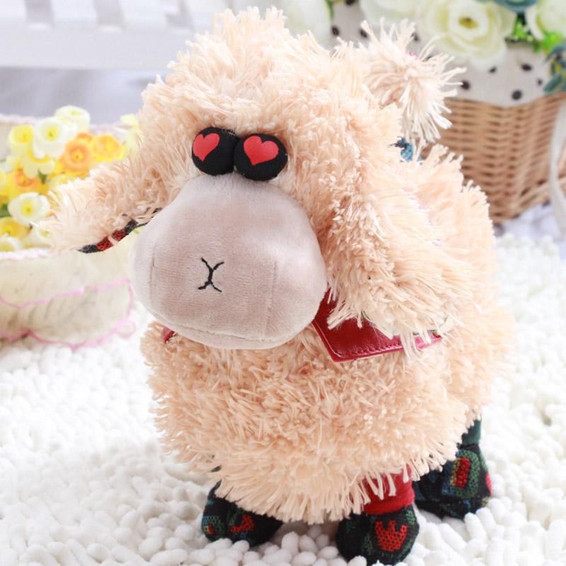可爱慕斯羊公仔毛绒玩具2015羊年吉祥物批发布娃娃玩偶公司礼物 米