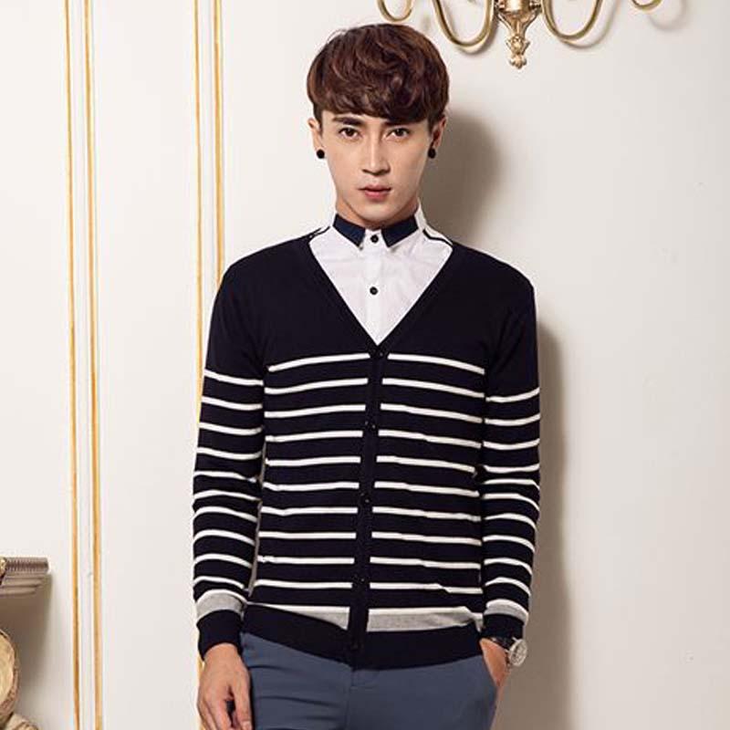 k328ica 男士秋冬季针织开衫男款韩版修身休闲条纹针织衫外套318 k35