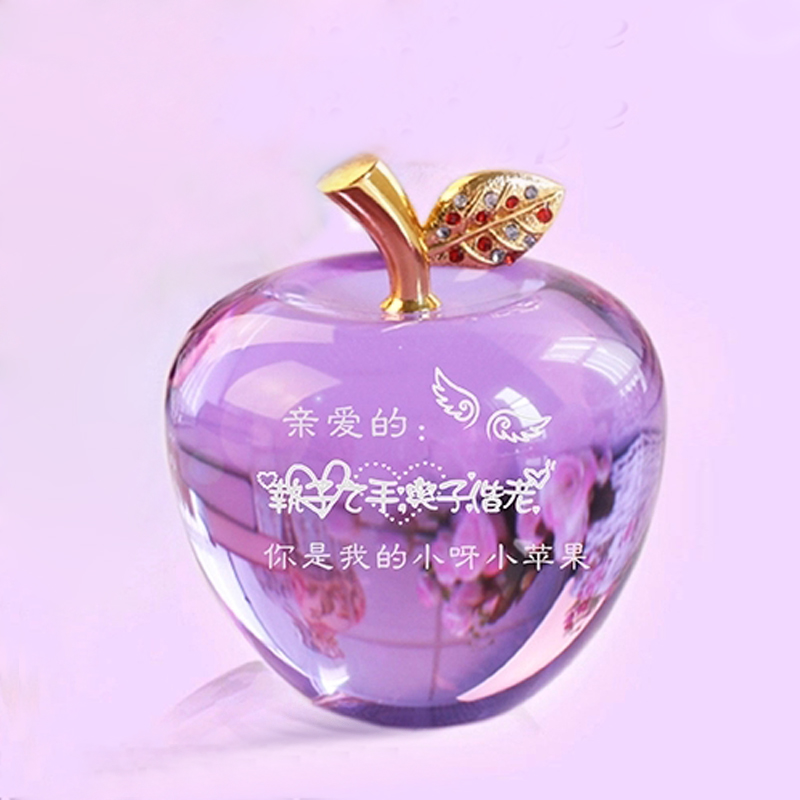 水晶苹果圣诞节礼物平安夜苹果创意摆件生日礼物图片