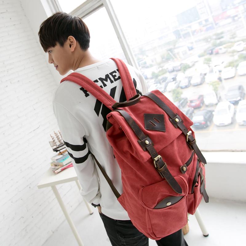 吉野帆布包包新款男包包韩版双肩包背包潮流学生书包旅行包百搭大背包图片