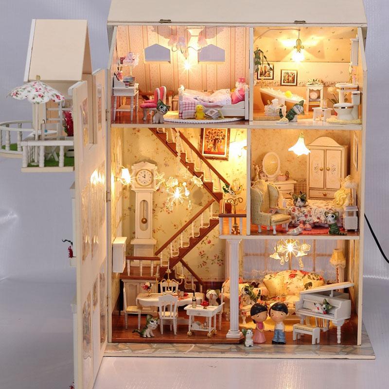 house 迷你家具玩具豪华别墅大建筑模型 送小人+9只猫+工具6件套+三