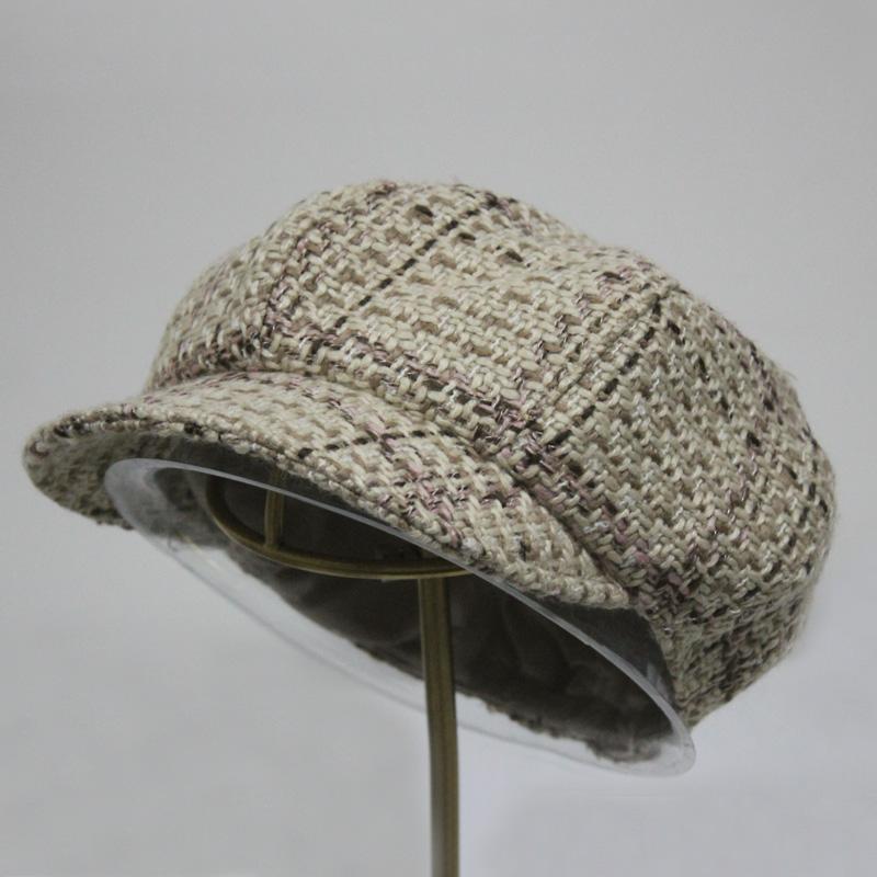 择信韩版男女秋冬保暖毛呢毛线八角帽户外画家帽休闲针织鸭舌帽子 9号