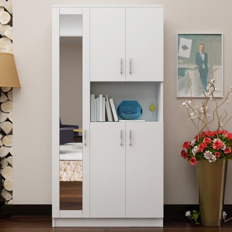 蜗爱 简约现代 板式门厅柜 鞋柜 玄关柜 隔断柜 带镜面柜 可定制 5门图片