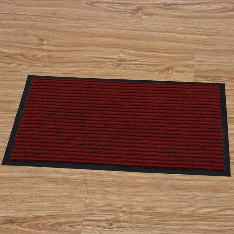 地毯门垫卫生间条纹防滑吸水地垫 深红色 600mmx900mm