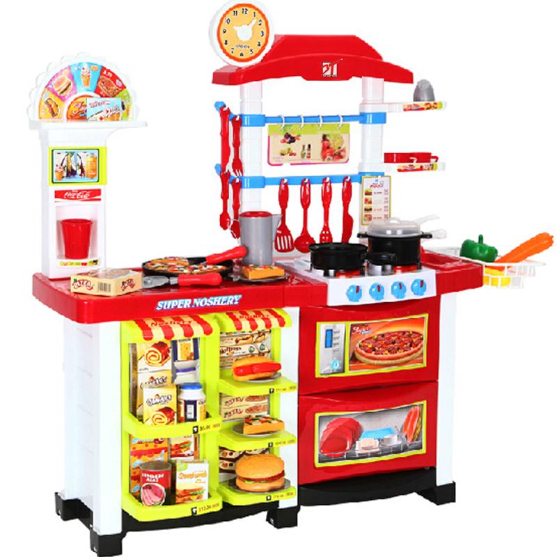 女孩厨房玩具 宝宝做饭玩具套装带灯光音乐 中西豪华大厨房6663e图片