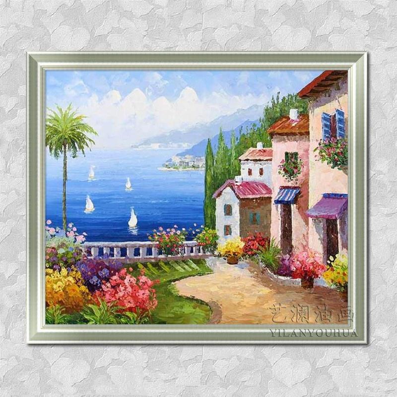 艺澜蓝天大海边建筑 纯手绘立体油画 风景地中海装饰墙壁挂画dh10 纯