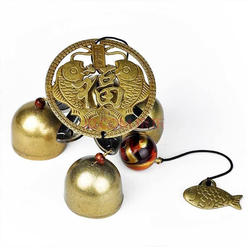 风水阁 铜铃铛挂饰门饰 纯铜风铃 化煞辟邪四神兽 八卦镜挂件 富贵有