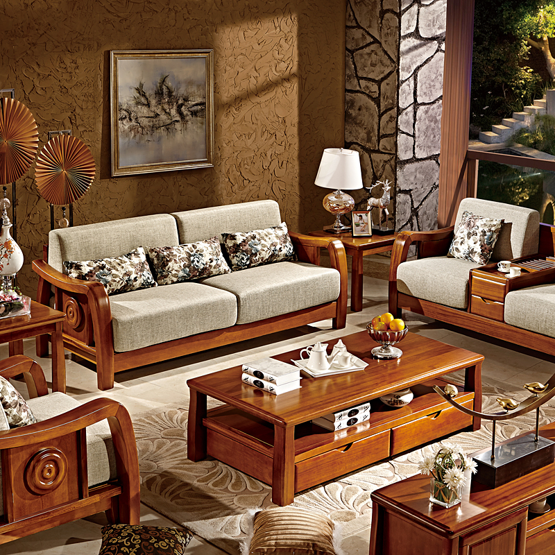 缔卓 实木沙发 中式高端楠木功能沙发家具 时尚布艺沙发组合 组合四图片