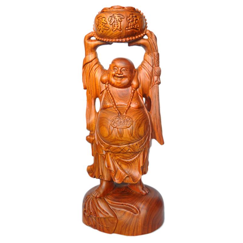 晴翠园 木雕弥勒佛风水摆件送宝佛红木工艺品家居装饰