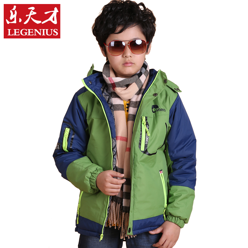 乐天才童装男童冬装外套2015新款加棉中大儿童男装青少年冲锋衣 绿色图片