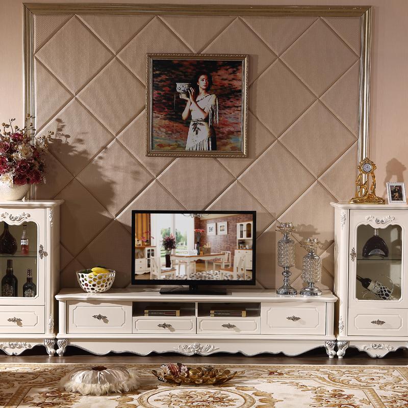 浪卡 电视柜 欧式电视柜茶几组合套装 实木电视柜 爵士白大理石 1.