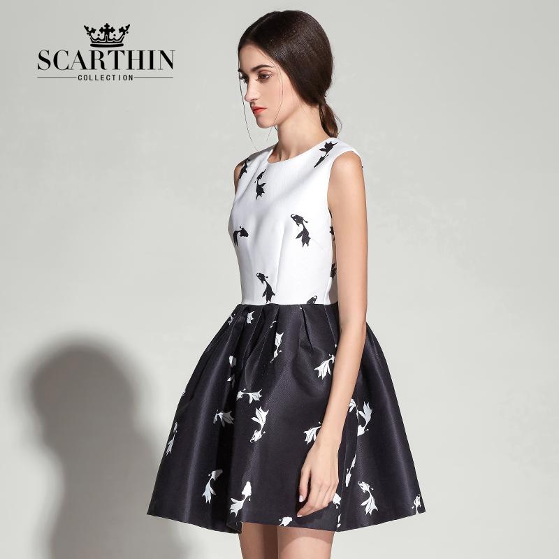 scarthin2015原创设计师时装品牌连衣裙sd65006584 白色印花 s
