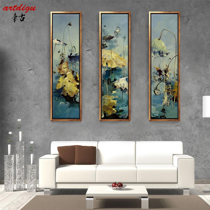 帝古现代中式荷花装饰画 办公室客厅三联画 沙发客厅玄关挂画 140x35