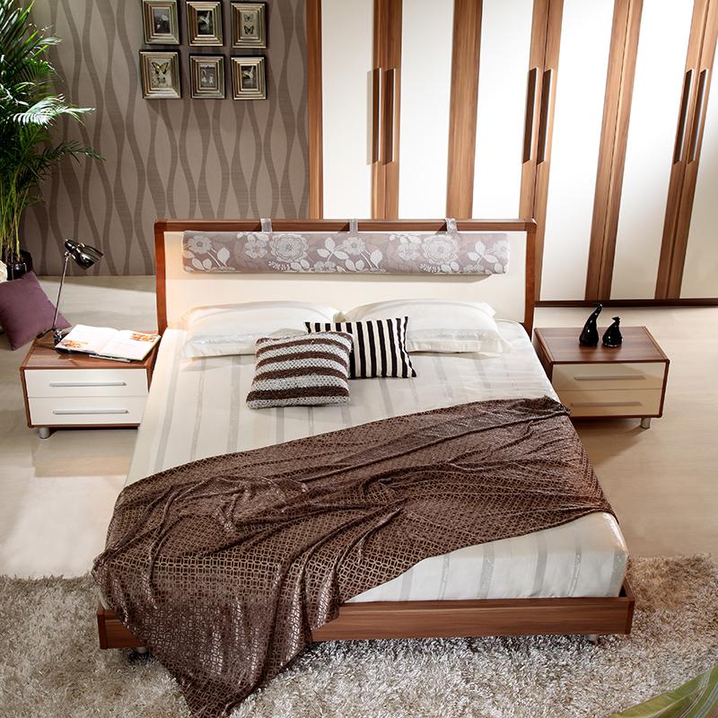 a家家具 现代中式板式床 实木床1.5 1.