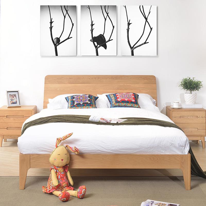 野橡c1橡木床北欧日式无印良品风格家具实木双人床 全