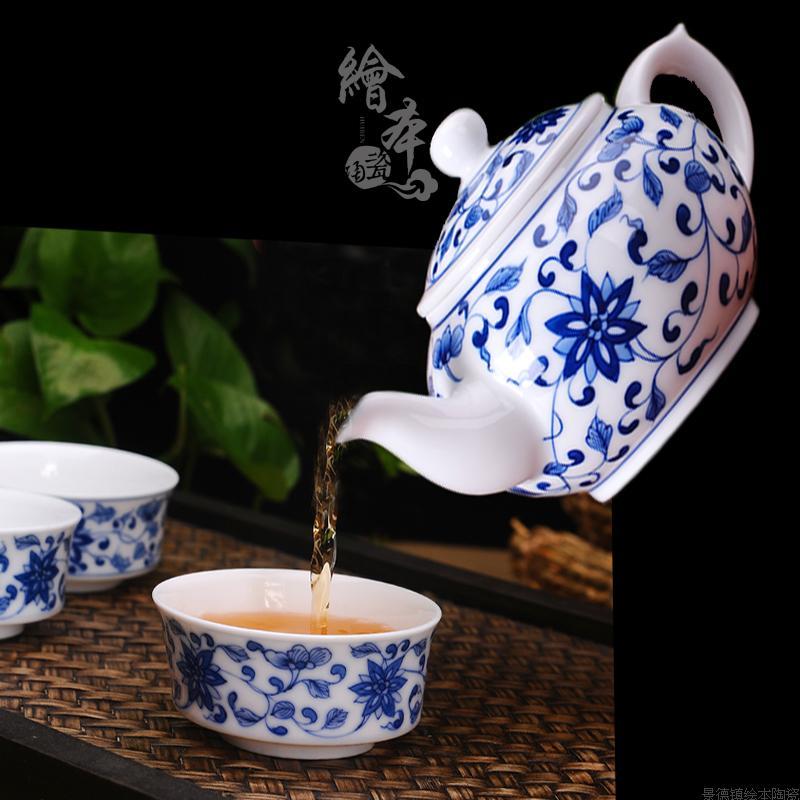 绘本景德镇手绘青花缠枝莲陶瓷茶壶青花瓷茶具 缠枝莲