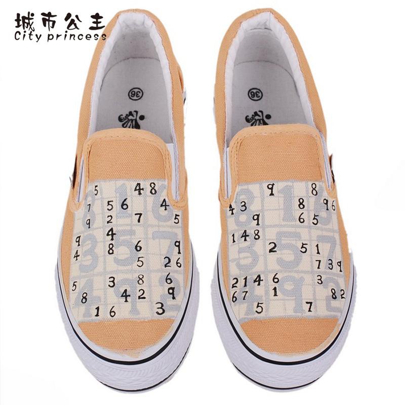 城市公主 乐福鞋女2015款手绘涂鸦鞋帆布鞋数字游戏浅口一脚蹬懒人