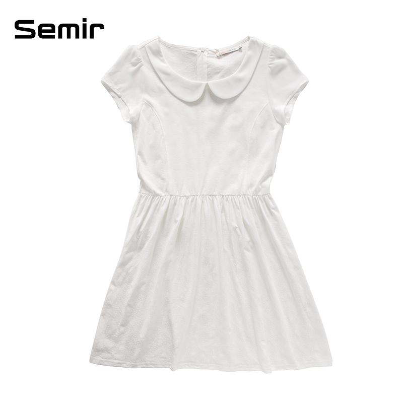 森马夏装新款连衣裙女装娃娃领雪纺短袖气质连衣裙潮显瘦韩版裙子 白图片