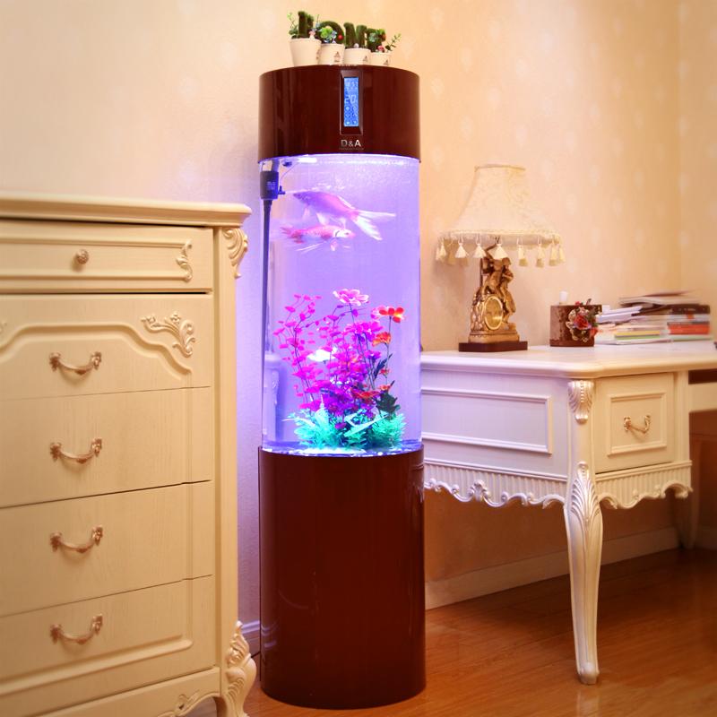 亚克力鱼缸水族箱 超白圆柱智能金鱼缸 屏风隔断免换 酒红色 led 造景