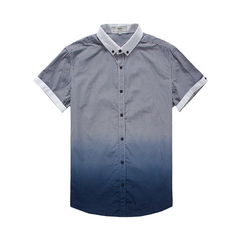 森马男装2015夏装新款短袖衬衫 男士纯棉格子渐变衬衣图片