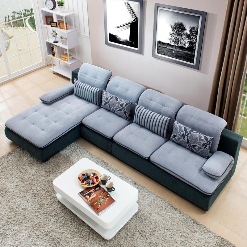 维诺斯帝 布艺沙发 布沙发 客厅沙发b32 蓝灰 浅灰绒布-右贵妃 2 1 贵