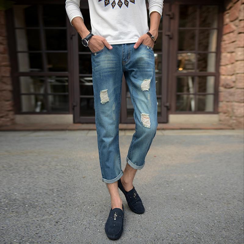 蓝色为主韩版森马真维斯风格男装牛仔裤九分裤男韩版