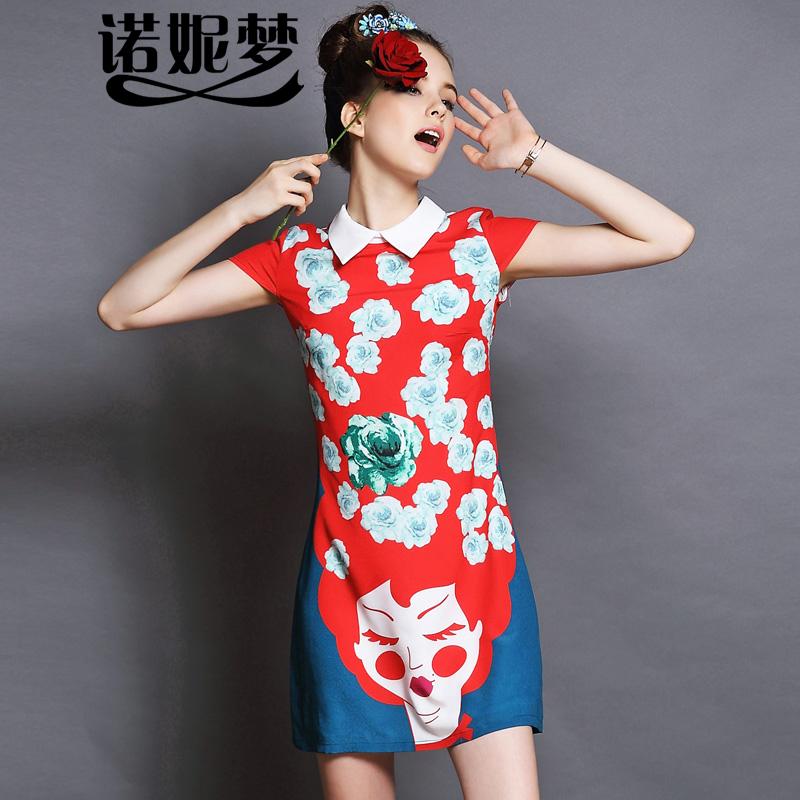 欧美�yg�_诺妮梦高端欧美加肥加大码女装2015夏装新品气质印花g